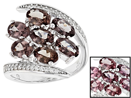 Photo of 3.20CTW OVAL COLOR CHANGE GARNET WITH 1.00CTW ROUND WHITE ZIRCON RHODIUM OVER SILVER RING - Size 9