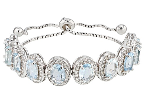 "Photo of 8.62CTW AQUAMARINE/WHITE ZIRCON RHODIUM OVER SILVER BRACELET. ADJUSTS APPROXIMATELY 6""-9"" LENGTH - Size 7.25"
