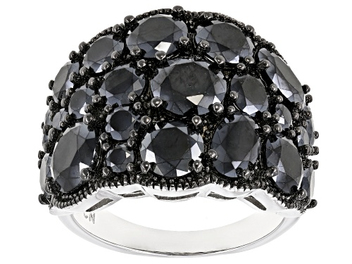 Photo of 8.24CTW ROUND & OVAL BLACK SPINEL RHODIUM OVER SILVER BAND RING - Size 5