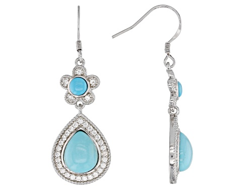 Photo of 10X8MM OVAL & 4MM ROUND SLEEPING BEAUTY TURQUOISE, .80CTW WHITE ZIRCON RHODIUM OVER SILVER EARRINGS
