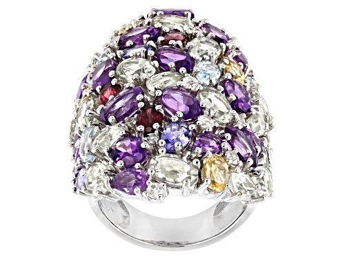 Photo of 16.23ctw Multi-Color Gemstones With 0.50ctw Round White Zircon Rhodium Over Silver Ring - Size 6