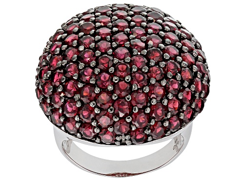 Photo of 8.09ctw Round Raspberry Color Rhodolite Rhodium Over Sterling Silver Ring - Size 6