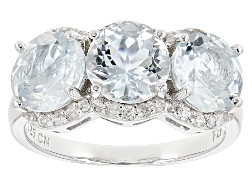 Photo of 3.30CTW ROUND AQUAMARINE WITH .49CTW ROUND WHITE ZIRCON RHODIUM OVER SILVER 3-STONE RING - Size 7