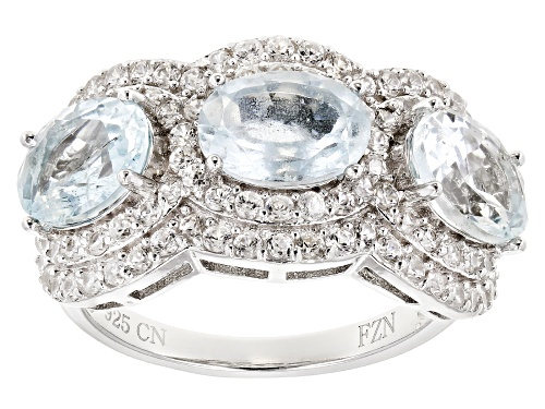 Photo of 3.15CTW OVAL AQUAMARINE WITH 1.88CTW ROUND WHITE ZIRCON RHODIUM OVER SILVER 3-STONE RING - Size 7