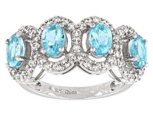 Photo of 1.70CTW OVAL BLUE APATITE WITH 1.20CTW ROUND WHITE ZIRCON RHODIUM OVER SILVER 4-STONE BAND RING - Size 7