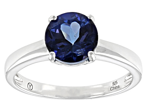 Photo of 2.25CT ROUND BLUE DANBURITE RHODIUM OVER STERLING SILVER SOLITAIRE RING - Size 10