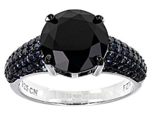 Photo of 5.11CTW ROUND BLACK SPINEL RHODIUM OVER STERLING SILVER RING - Size 11
