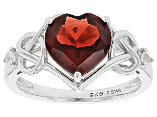 Photo of 2.21ct Heart Shape Red Garnet With .05ctw Round White Topaz Rhodium Over Sterling Silver Ring - Size 6