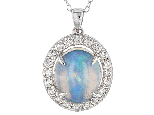 Photo of 2.50ct Oval Cabochon Ethiopian Opal And .80ctw Round White Zircon Sterling Silver Pendant With Chain