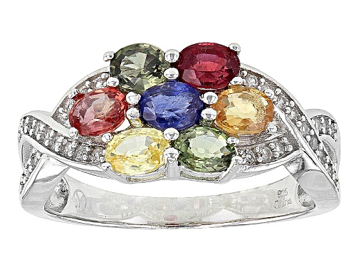 Photo of 1.75ctw Oval Multi Sapphire And .13ctw Round White Zircon Sterling Silver Ring - Size 11