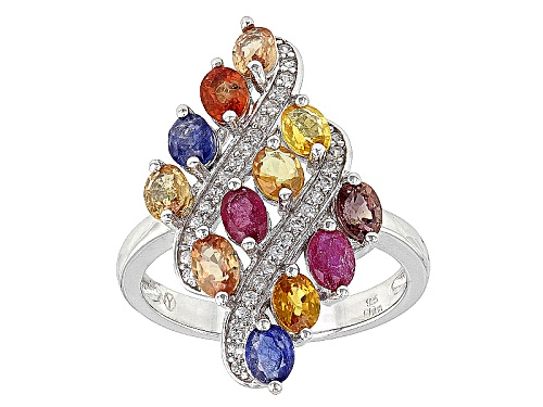 Photo of 3.00ctw Oval Multi Sapphire And .10ctw Round White Zircon Rhodium Over Sterling Silver Ring - Size 7