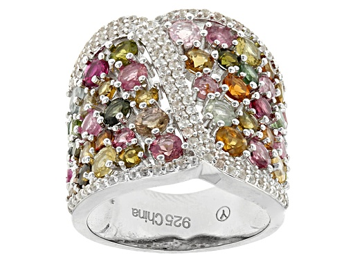Photo of 4.35ctw Round Multi Tourmaline And .65ctw Round White Zircon Rhodium Over Sterling Silver Band Ring - Size 6