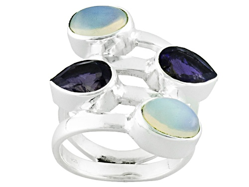 Photo of 1.20ctw Oval Ethiopian Opal And 1.70ctw Pear Shape Iolite Sterling Silver Ring - Size 5