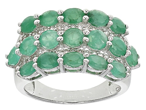 Photo of 1.47ctw Oval And 1.82ctw Round Emerald With .37ctw Round White Zircon Sterling Silver Ring - Size 5