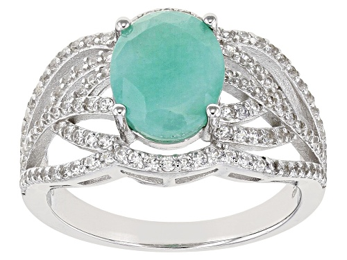 Photo of 2.08ct Oval Emerald And .86ctw Round White Zircon Rhodium Over Sterling Silver Ring - Size 8