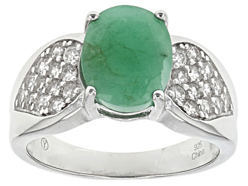 Photo of 2.25ct Oval Emerald And 1.17ctw Round White Zircon Sterling Silver Ring - Size 12