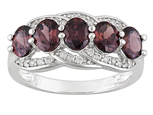 Photo of 2.66ctw Oval Red Zircon And .26ctw Round White Zircon Sterling Silver 5-Stone Band Ring - Size 5