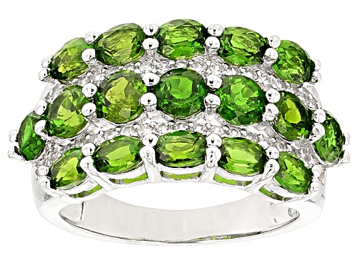 Photo of 3.88ctw Oval And Round Russian Chrome Diopside With .37ctw Round White Zircon Sterling Silver Ring - Size 5