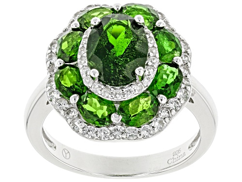 Photo of 3.10ctw 8x6mm And 4x3mm Oval Russian Chrome Diopside With .62ctw White Zircon Sterling Silver Ring - Size 10