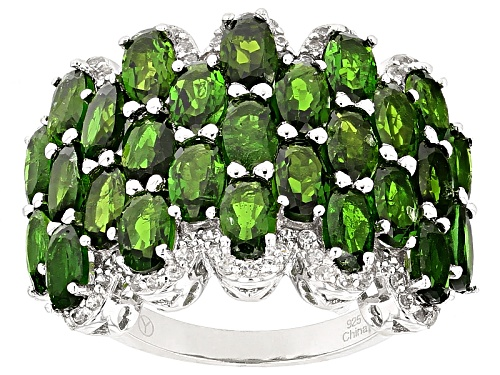 Photo of 6.41ctw Oval Russian Chrome Diopside And .56ctw Round White Zircon Sterling Silver Ring - Size 4
