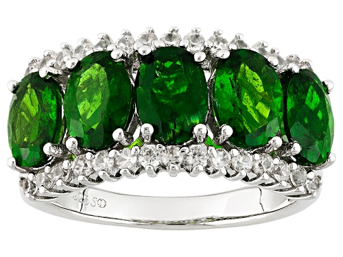Photo of 4.10ctw Oval Russian Chrome Diopside And .50ctw Round White Zircon Sterling Silver 5-Stone Ring - Size 5