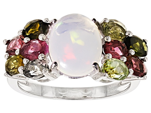 Photo of 1.68ct Oval Cabochon Ethiopian Opal And 1.60ctw Oval Multi-Tourmaline Sterling Silver Ring - Size 12