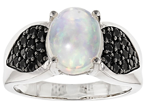 Photo of 1.75ct Oval Cabochon Ethiopian Opal And .76ctw Round Black Spinel Sterling Silver Ring - Size 5