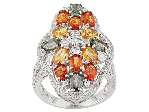 4.30ctw Oval Multi Sapphire And 1.42ctw Round White Topaz Sterling Silver Ring - Size 5