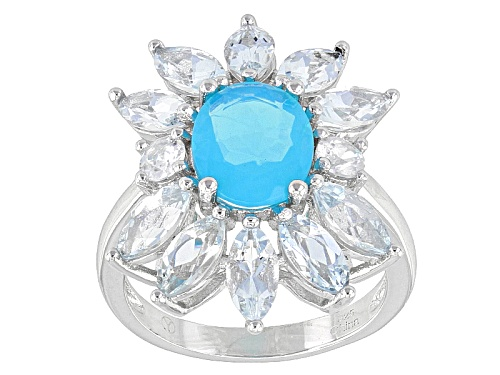Photo of 1.00ct Blue Ethiopian Opal With 2.00ctw Marquise Aquamarine And .35ctw White Zircon Silver Ring - Size 11