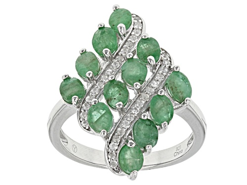 Photo of 2.00ctw Oval Sakota Emerald And .25ctw Round White Zircon Sterling Silver Ring - Size 5