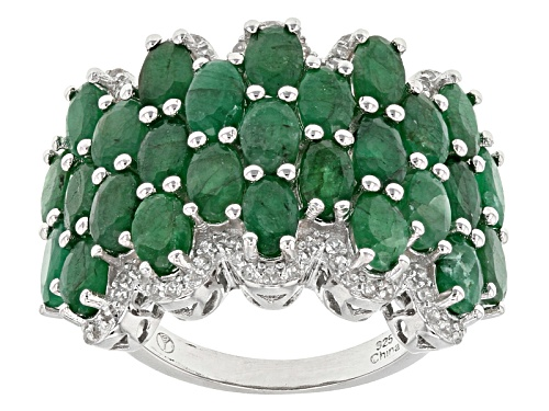 Photo of 4.55ctw Oval Sakota Emerald And .55ctw Round White Zircon Sterling Silver Band Ring - Size 5