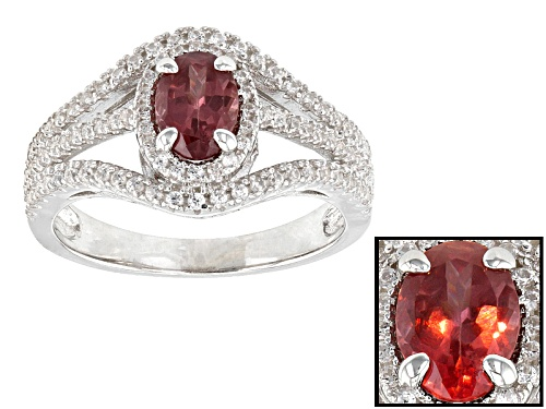 .89ct Oval Color Shift Garnet With .73ctw Round White Zircon Sterling Silver Ring - Size 11