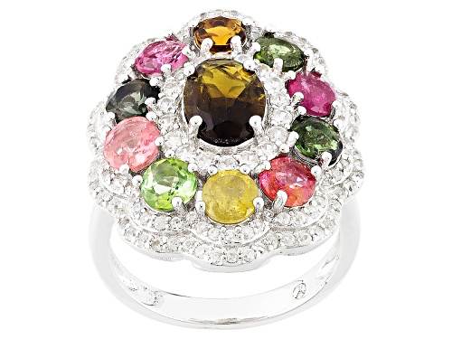 Photo of 3.25ctw Oval And Round Multi-Tourmaline With 1.00ctw Round White Zircon Sterling Silver Ring - Size 5