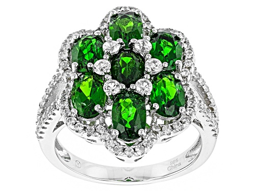 Photo of 3.52ctw Oval Russian Chrome Diopside With .91ctw Round White Zircon Sterling Silver Cluster Ring - Size 12
