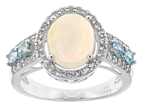 Photo of 1.50ct Oval Ethiopian Opal With .60ctw Round Blue And .60ctw Round White Zircon Sterling Silver Ring - Size 11
