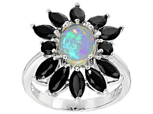 Photo of 1.15ct Oval Ethiopian Opal With 2.25ctw Round And Marquise Black Spinel Sterling Silver Ring - Size 5