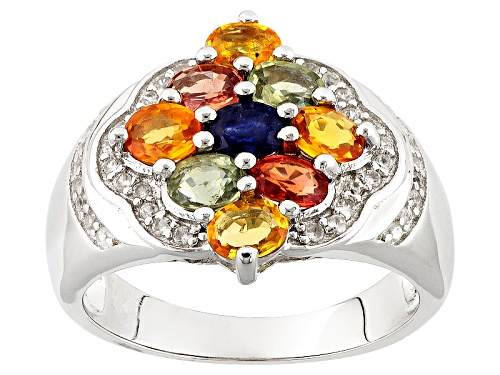 Photo of 1.94ctw Oval Multi-Sapphire With .32ctw Round White Zircon Sterling Silver Cluster Ring - Size 7