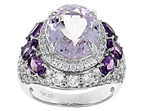 Photo of 6.50ct Oval Kunzite With 1.00ctw Oval Amethyst And 1.25ctw Round White Zircon 10k White Gold Ring - Size 7