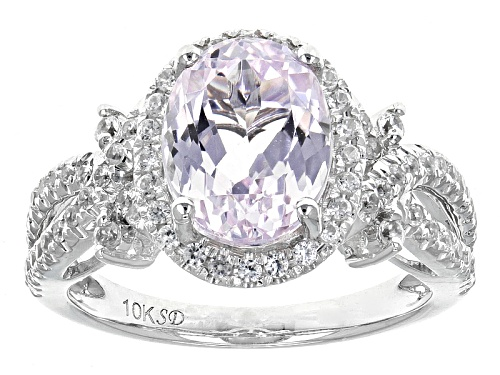 2.50ct Oval Kunzite And .58ctw Round White Zircon 10k White Gold Ring - Size 11