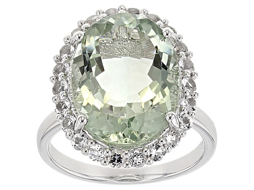 Photo of 8.50ct Oval Prasiolite With 1.00ctw Round White Topaz Rhodium Ove rSterling Silver Ring - Size 7