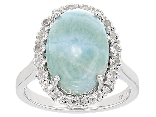 Photo of 14x10mm Oval Cabochon Larimar With 1.00ctw Round White Topaz Sterling Silver Ring - Size 12