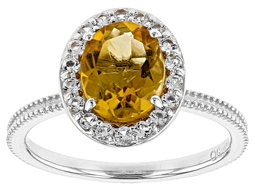 Photo of 1.60ct Oval Citrine With .35ctw Round White Topaz Sterling Silver Ring - Size 12