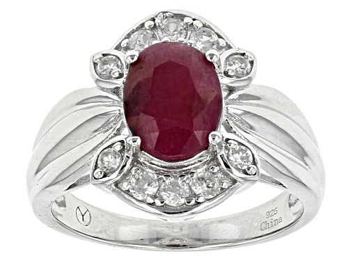 Photo of 2.00ct Oval India Ruby With .40ctw Round White Zircon Sterling Silver Ring - Size 11