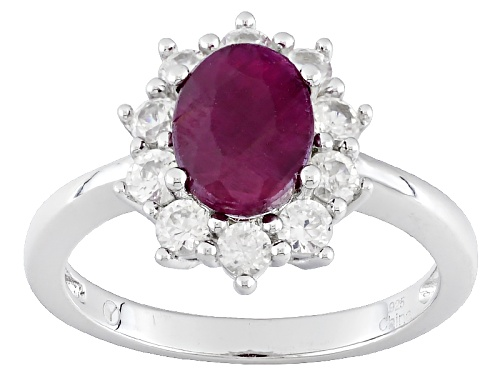 Photo of 1.35ct Oval India Ruby With .95ctw Round White Zircon Sterling Silver Ring - Size 11