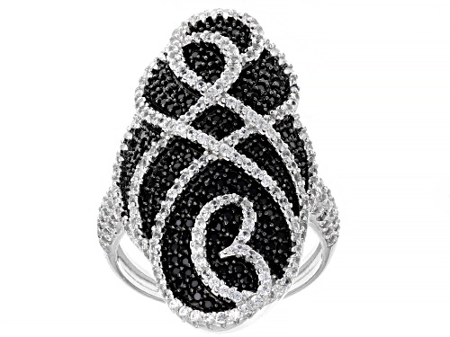 Photo of .76ctw Round Black Spinel With 1.52ctw Round White Zircon Sterling Silver Ring - Size 6