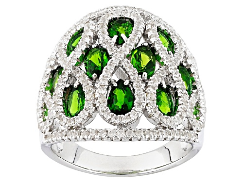 Photo of 2.18ctw Oval And Pear Shape Russian Chrome Diopside With 1.56ctw Round White Zircon Silver Ring - Size 5