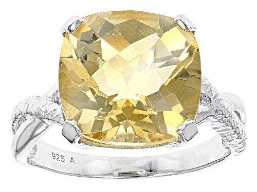 Photo of 6.50ct Square Cushion Citrine Solitaire Rhodium Over Sterling Silver Ring - Size 8