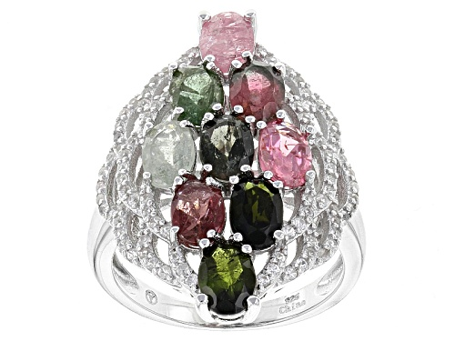 Photo of 3.50ctw Oval Multi-Tourmaline With .70ctw Round White Zircon Sterling Silver Cluster Ring - Size 5