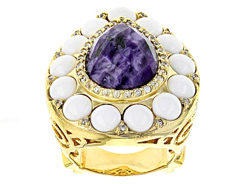 Photo of 16x12mm Pear Shape Charoite With 5mm White Agate And .37ctw White Zircon 14k Gold Over Silver Ring - Size 7