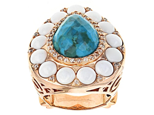 Photo of 16x12mm Turquoise With 5mm White Agate And .37ctw White Zircon 14k Rose Gold Over Silver Ring - Size 7